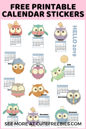 photo about Printable Calendar Stickers identify 2019 Calendar Printable Stickers With Ow #96794 - PNG Pics