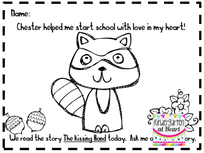 The Kissing Hand Png - (27 Fresh Kissing Hand Freebies and Teaching Resources) Chester Raccoon  Coloring Page - KindergartenWorks