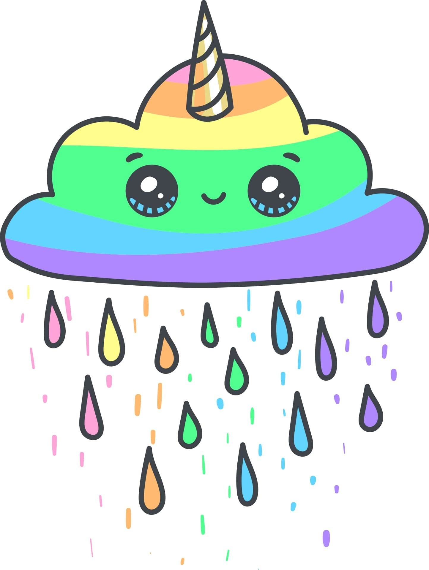 Cute Colorful Png - 3 CUTE CLOUD and STARS svg png jpg Rainbow Unicorn Colorful | PNGio