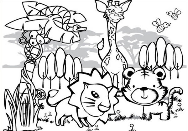 Animal Coloring Page Png - 8+ Jungle Coloring Pages - PDF, PNG | Free & Premium Templates