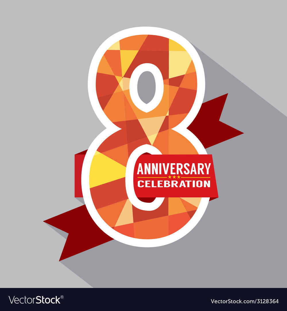 Happy 8th Anniversary Card Png - 8th Years Anniversary Celebration Design Vector Image