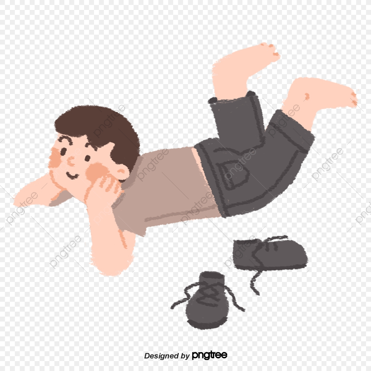 Boy Lying On His Back Png - A Cartoon Barefoot Boy Lying On The Ground With His Cheek On His ...