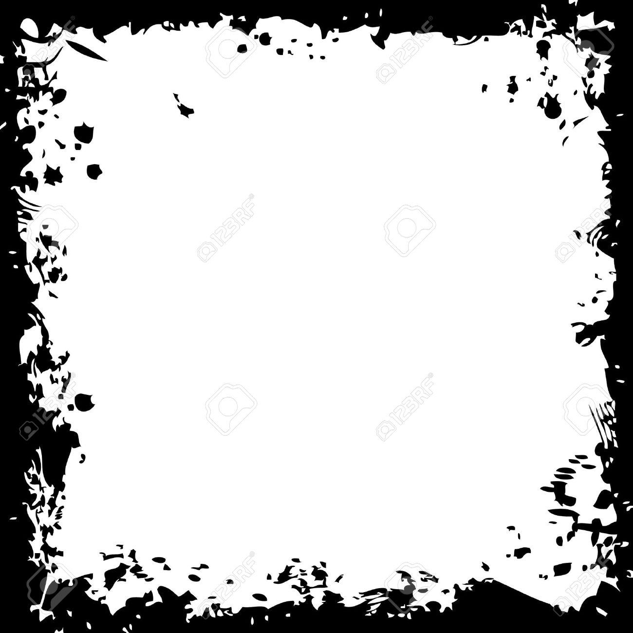 Square Border - A Grunge Square Border In Black And White Stock Photo, Picture And ...