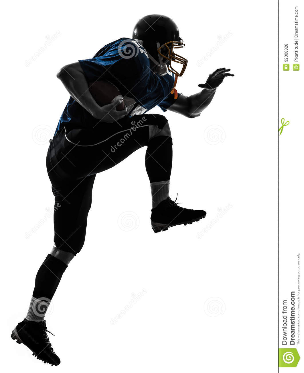 Running Football Player Png - American football player man running silhouette