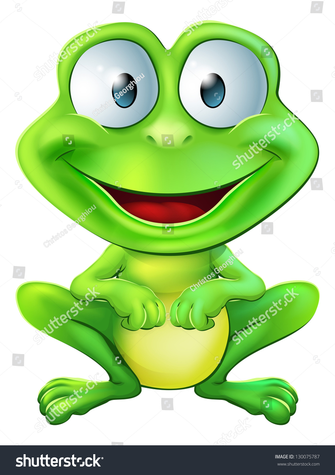 Smiling Frog Png - An illustration of a green cute frog character sitting and smiling