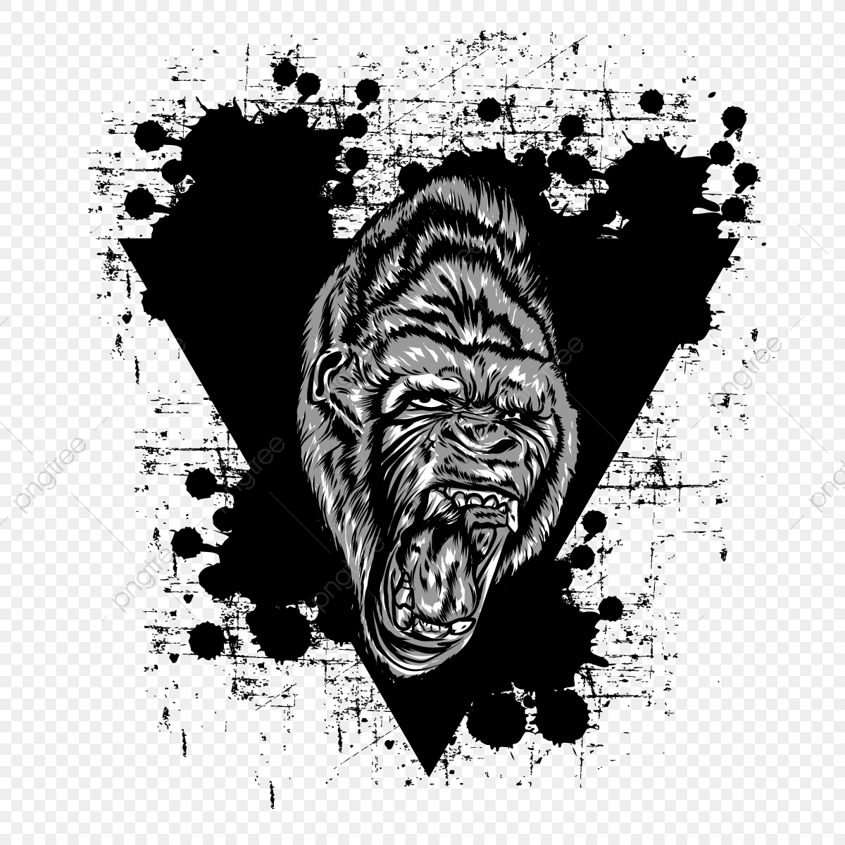 Gorilla Pooping Png - Angry Gorilla Design, Angry, Gorilla, Beast PNG and Vector with ...