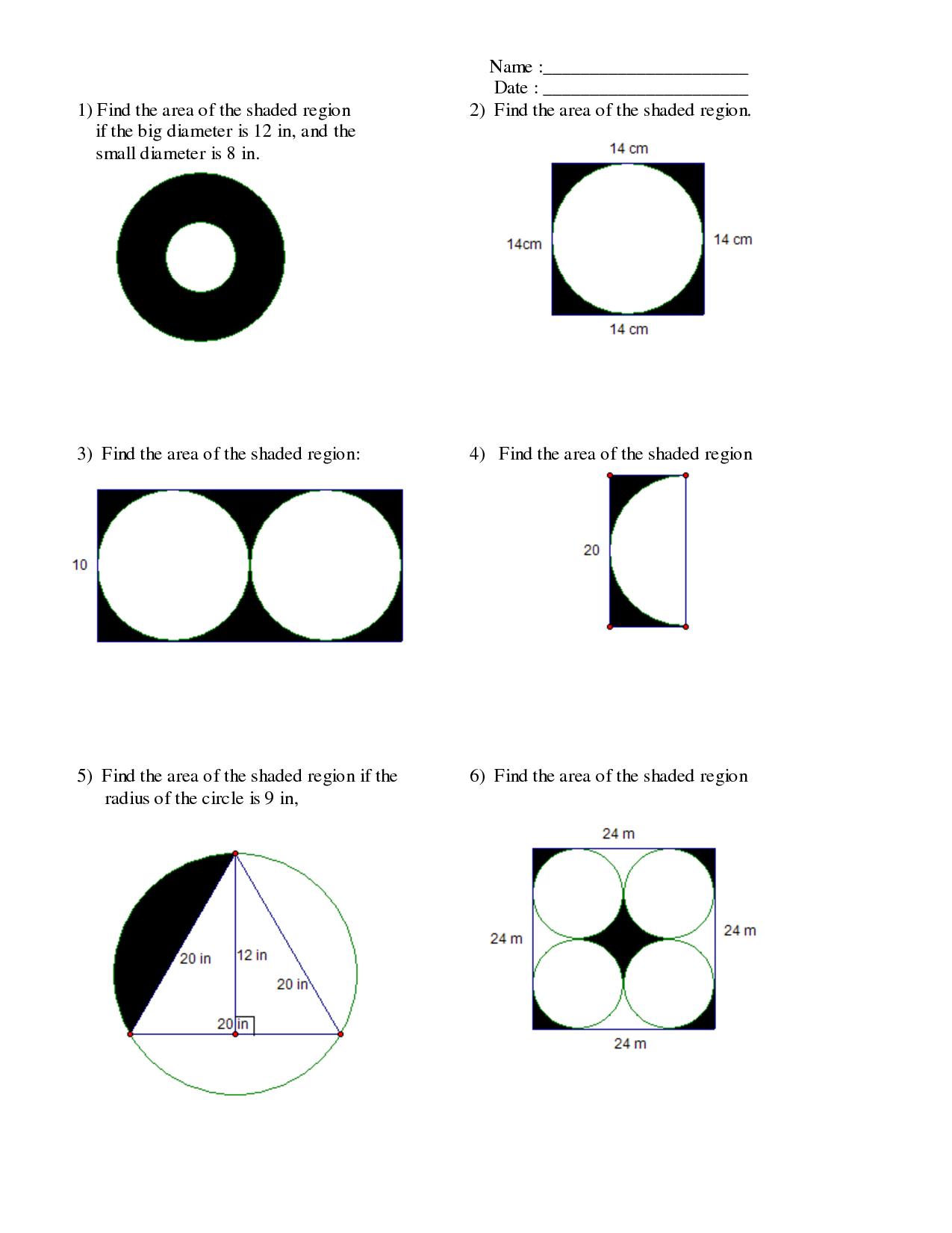Shading Worksheet Png - Area Of A Shaded Region Of A Circle Worksheet - area of a shaded ...