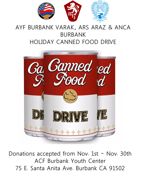 Can Food Drive Png - AYF Burbank Launches Canned Food Drive | Asbarez.com