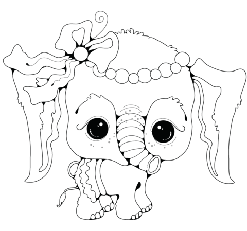 Baby Elephant Girl Coloring Page Free 2692257 Png Images Pngio