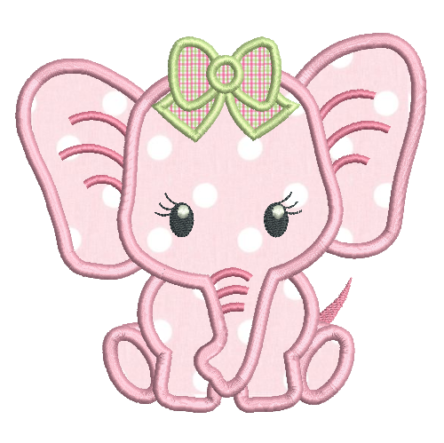 Girl Elephant Png - Baby girl elephant applique machine embroidery design by  rosiedayembroidery.com