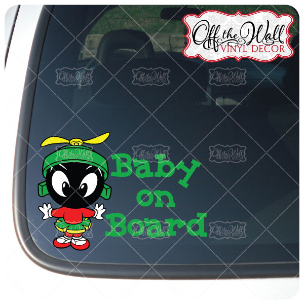 Baby Marvin The Martian - BABY ON BOARD Marvin Martian - Off the Wall Vinyl Decals