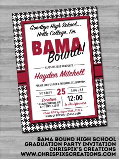 Trunk Party Png - Bama Bound High School Graduation Party Invitation | ☆ Chrispix's ...