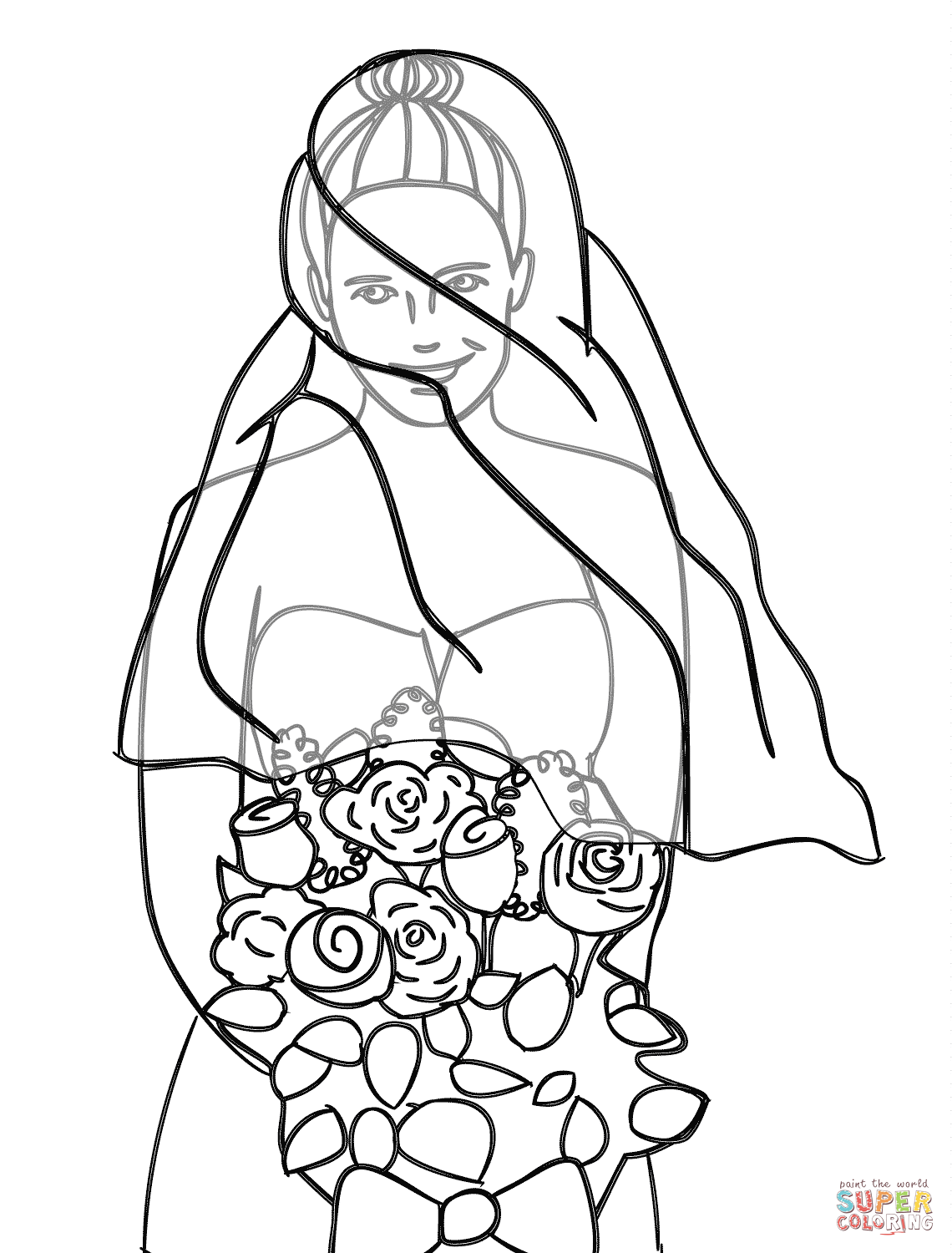 Ball gown coloring page for girls, printable free | Coloring pages ... | 1500x1140
