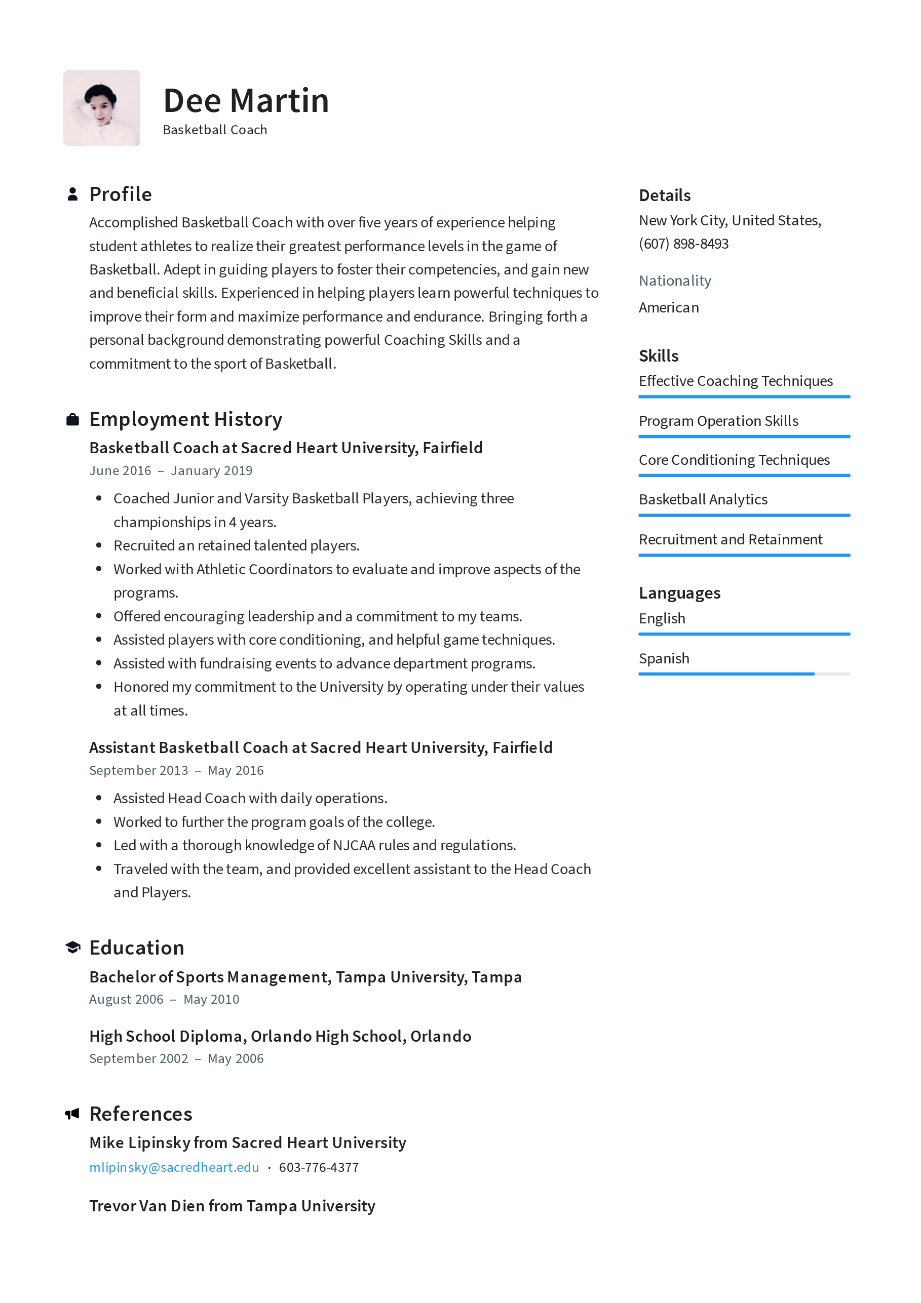 Basketball Coach Resume Examples Full 1915657 Png Images Pngio