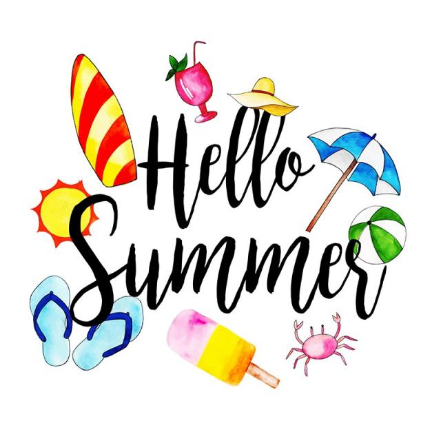 Hello Summer Png - Beautiful Background Of The Word Hello Summer With Watercolor ...