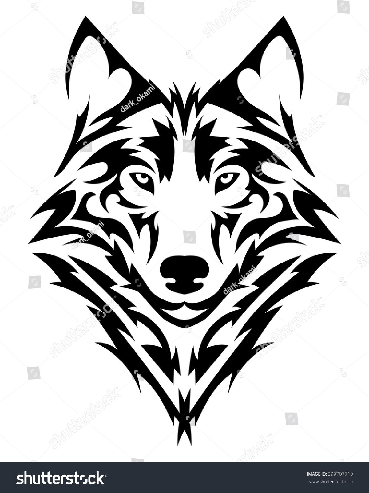 Wolf Vector - Beautiful wolf tattoo.Vector wolf's head as a design element on ...