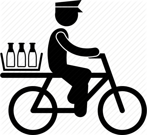 Png Delivery Man On Bike - Bicycle, courier, delivery, deliveryman, milkman, service icon