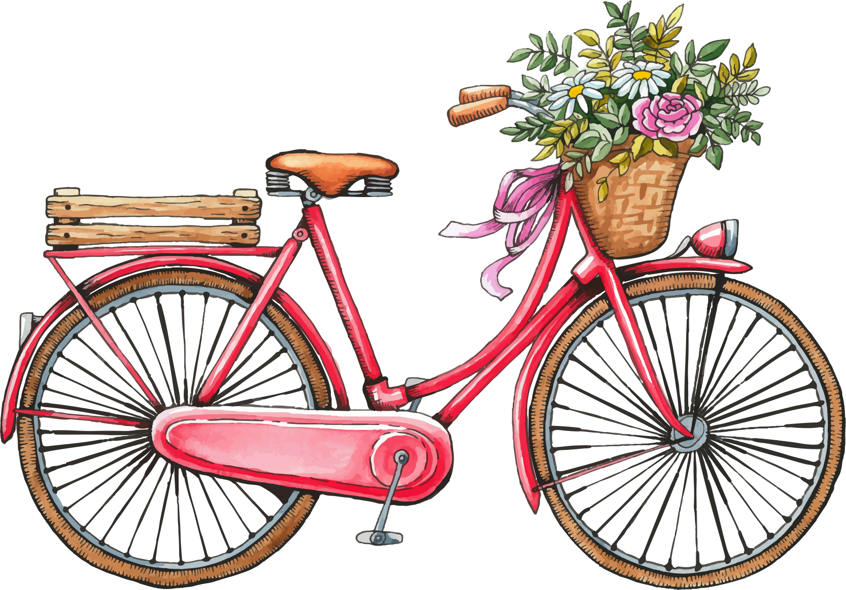 Old Bicycle Png - Bicycle Wedding invitation Save the date Watercolor painting ...