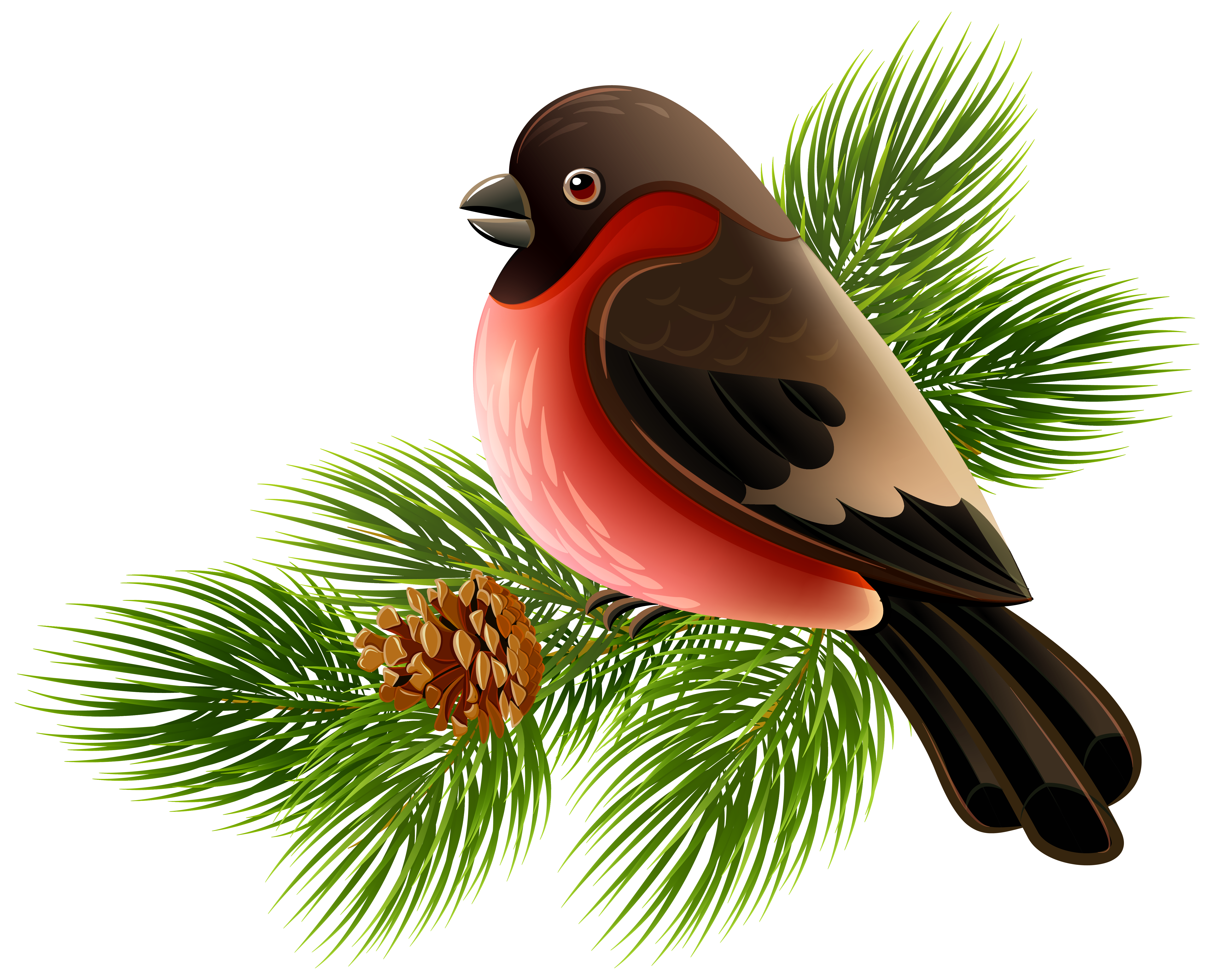Bird On Branch Png - Bird and Pine Branch PNG Clipart Image | Gallery Yopriceville ...