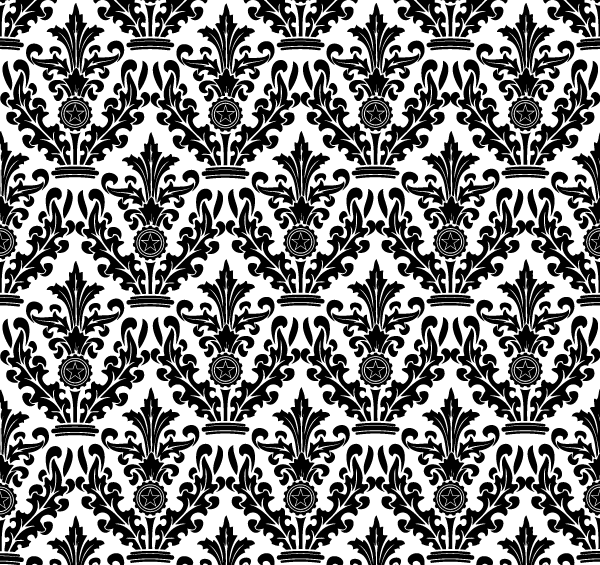 Black And White Damask Floral Pattern Fr #80075 - PNG Images