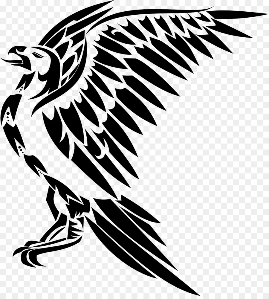 Hawk Png Black And White - Black and white Drawing Tattoo Clip art - Hawk png download - 1362 ...