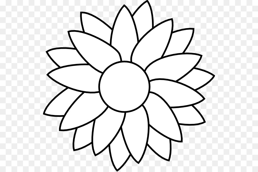 Sunflower Black And White Png - Black And White Flower png download - 600*598 - Free Transparent ...