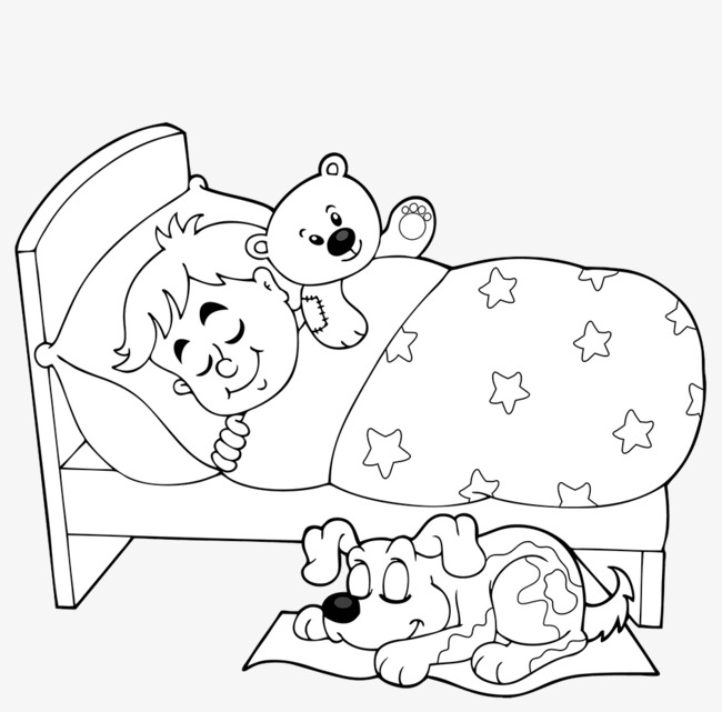 Sleeping In Bed Png Black And White & Free Sleeping In Bed ...