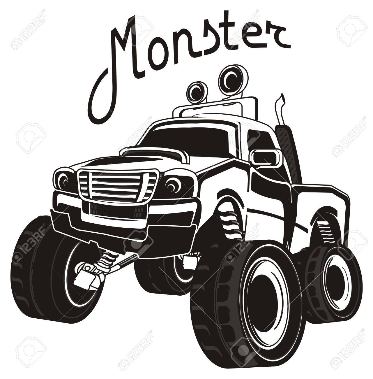 Monster Truck Clipart Black And White - Black And White Monster Truck And His Name Stock Photo, Picture ...