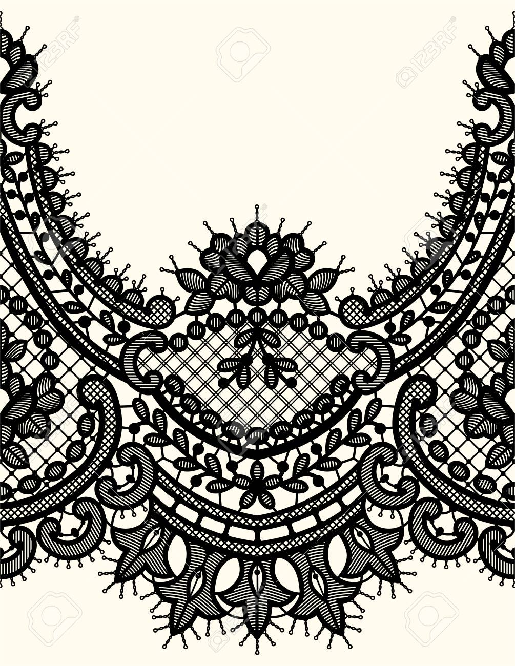 Seamless Black And White Horizontal Lace Vector Pattern. Royalty Free  Cliparts, Vectors, And Stock Illustration. Image 61847197.   1300x1005