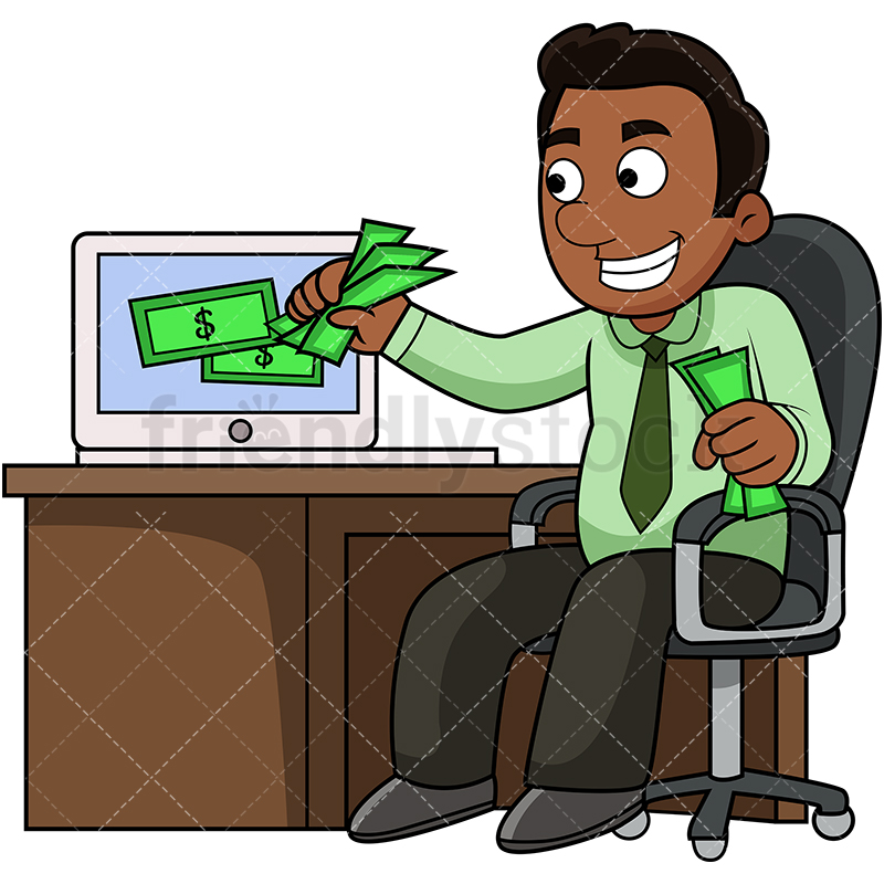 Black Man Money Png - Black Man Pulling Money Out Of Computer Cartoon Vector Clipart ...