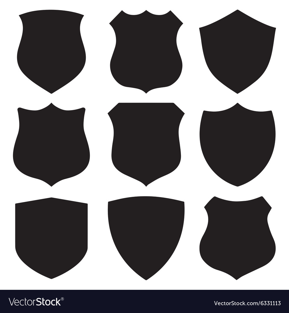Shield Vector - Black modern shields Royalty Free Vector Image