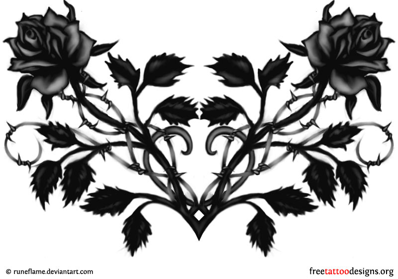 Black Rose And Heart Tattoo Design Idea 17538 Png Images Pngio