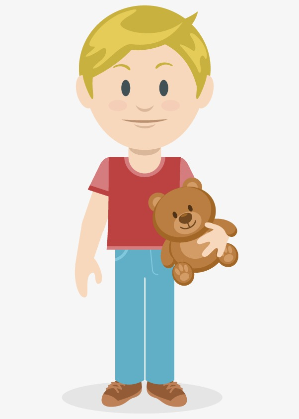 Blonde Boy Png - Blond Boy, Boy Clipart, Holding Bear, Red Shirt PNG Image and ...