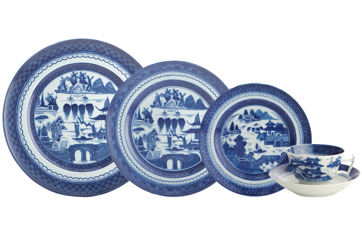 China Dishes Patterns Png - BLUE CANTON 5PC PLACE SETTING