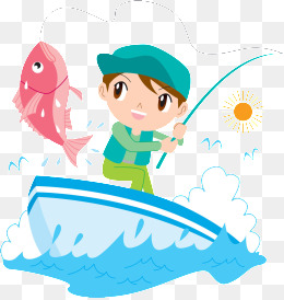 Little Boy Fishing Png - Blue Cartoon Little Boys And Girls Little Fish Poster Background ...