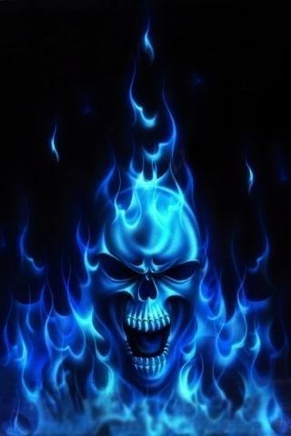 Blue Flames Skull Awesomeness Skull 939756 Png Images
