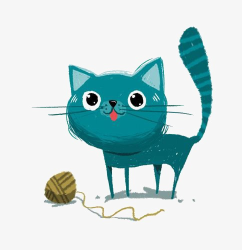 Kitten Playing With Yarn Png - blue kitten playing with a ball of yarn, Cartoon Kitten, Blue, Cute Cat