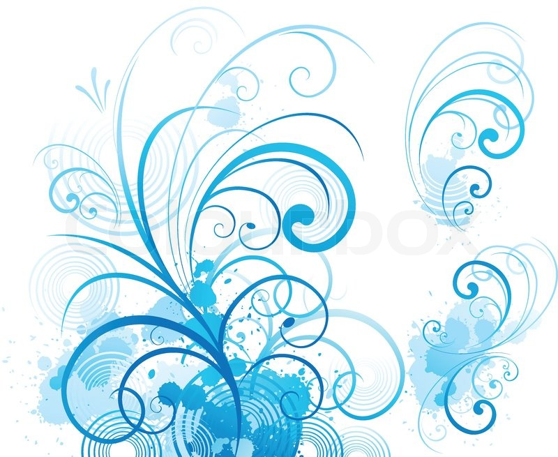 Blue Swirls - Blue swirling flourishes floral ... | Stock vector | Colourbox