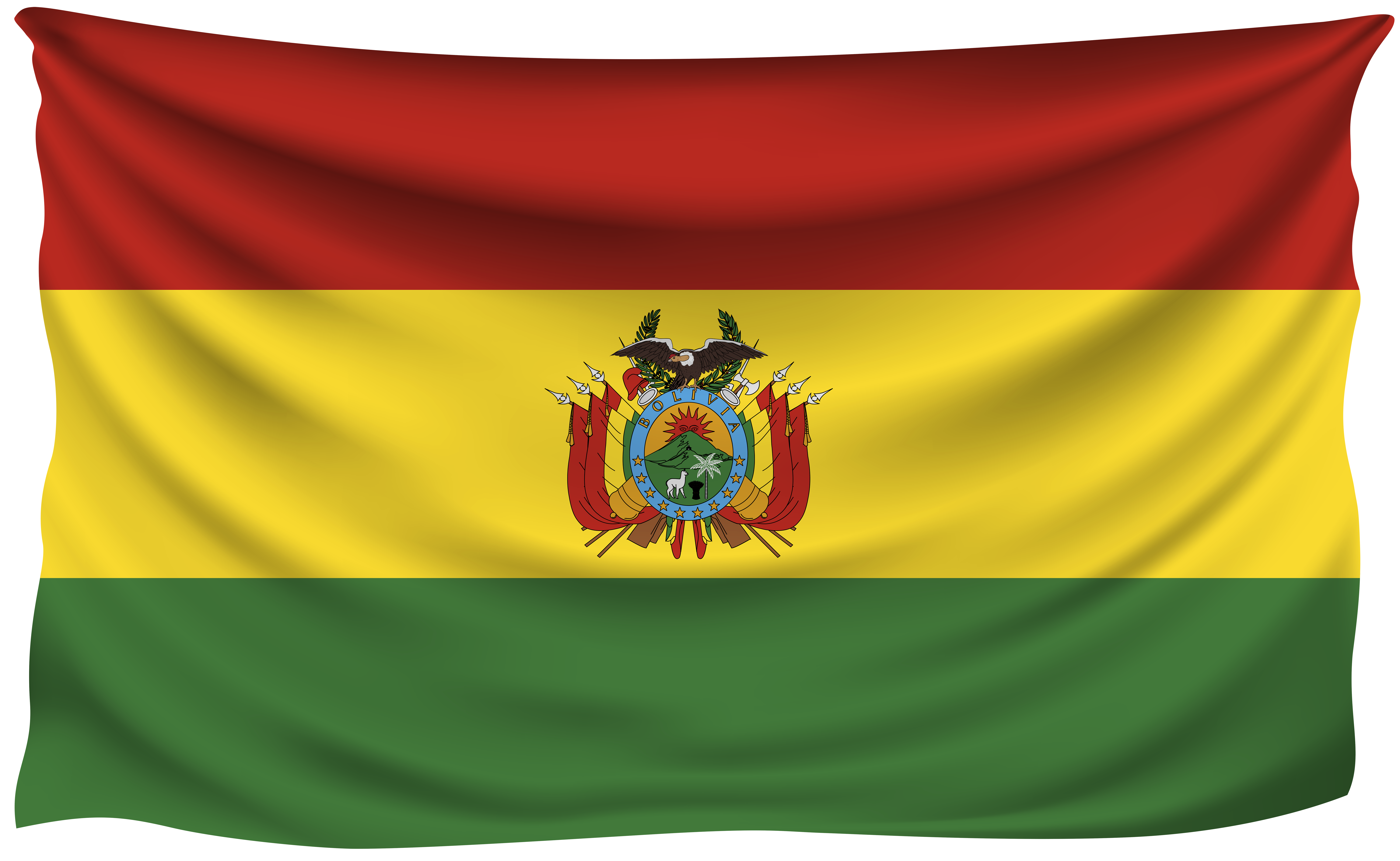 Flag Of Bolivia Png - Bolivia Wrinkled Flag | Gallery Yopriceville - High-Quality ...