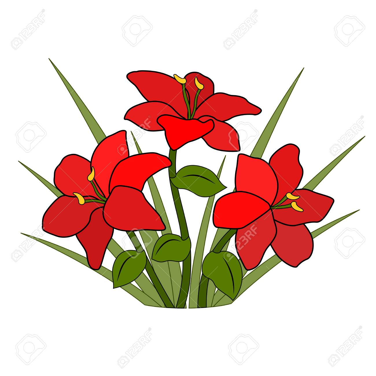 Red Flower Drawing - Bouquet Or Flower Bed Of Red Flowers, Six Petals And Grass, Green ...