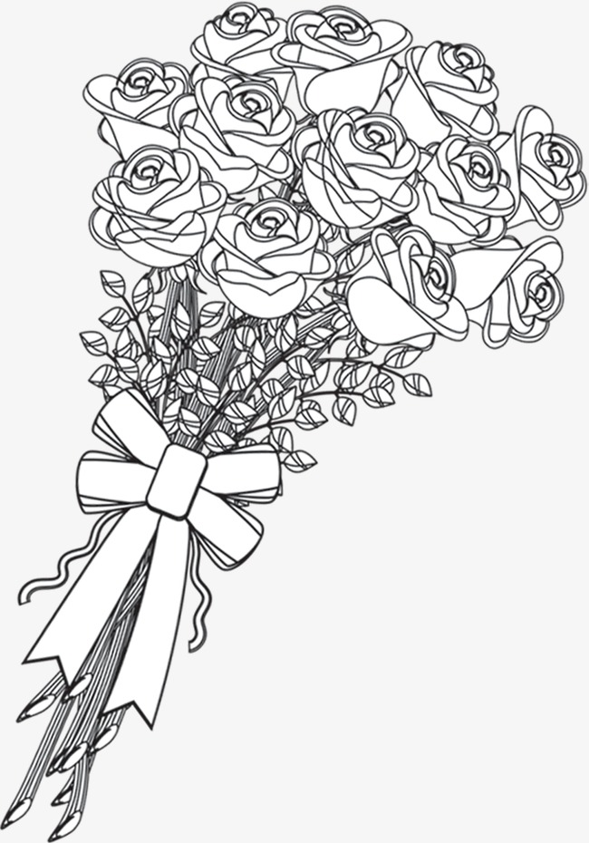 Rose Bouquet Png Black And White & Free Rose Bouquet Black And White.png Transparent Images ...