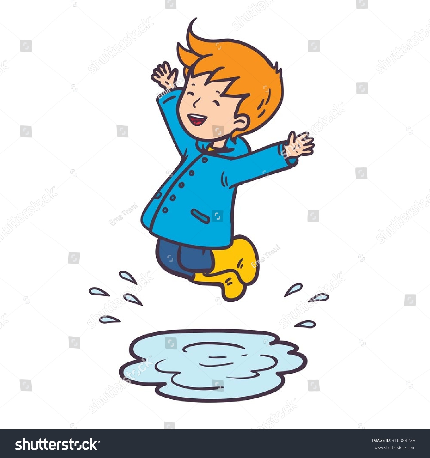 Puddle Clipart - Boy Jumping In Puddle. Vector Color Illustration - Free Clipart