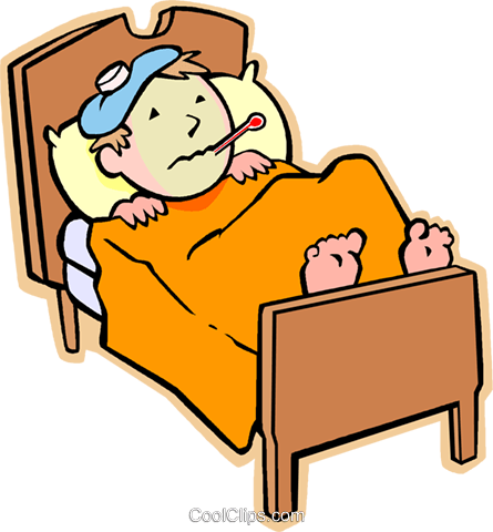 Sick Png - Boy sick in bed with the flu Royalty Free Vector Clip Art illustration -  Free PNG