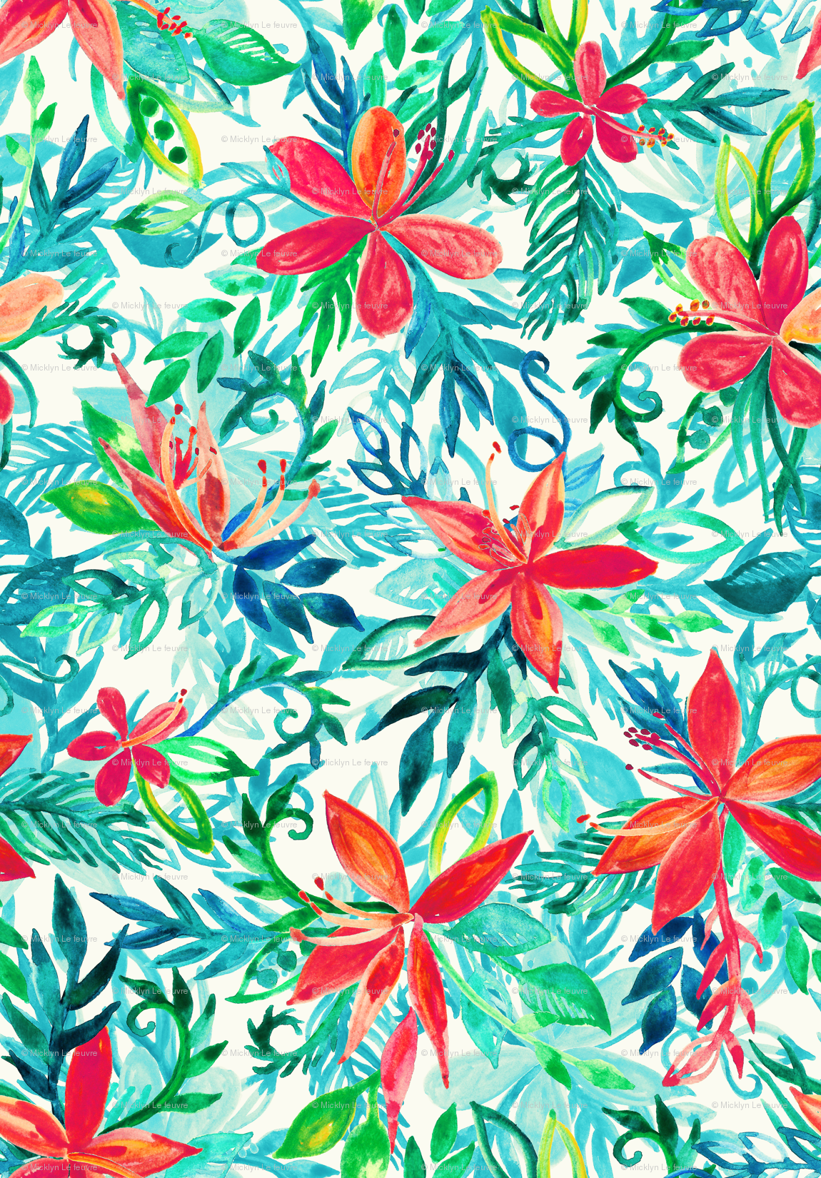 Bright Colors Tropical Watercolor Floral 1043445 Png Images Pngio
