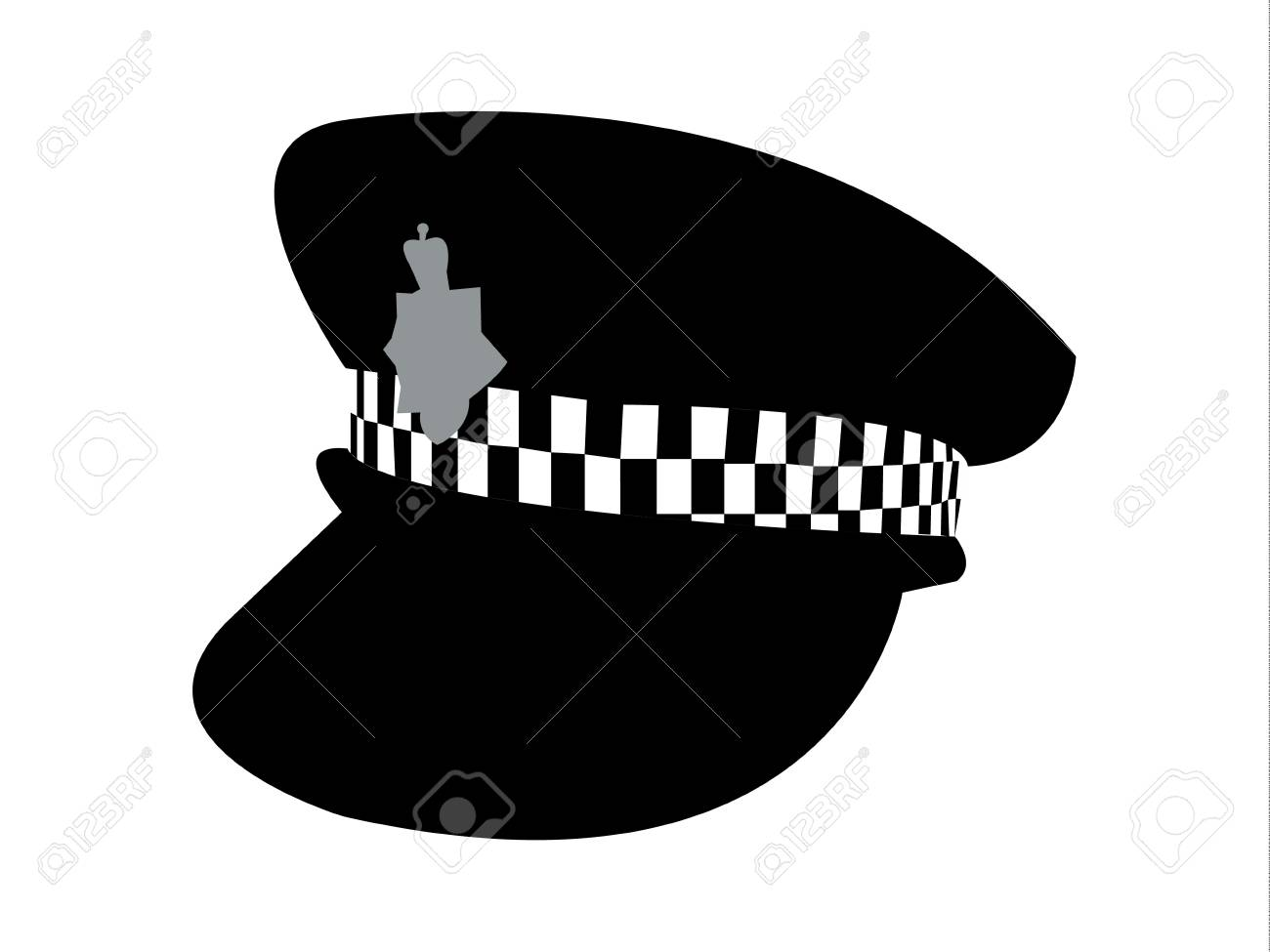 Police Hat Cartoon - British Police Cap Hat With A Silver Police Badge Cartoon Vector ...