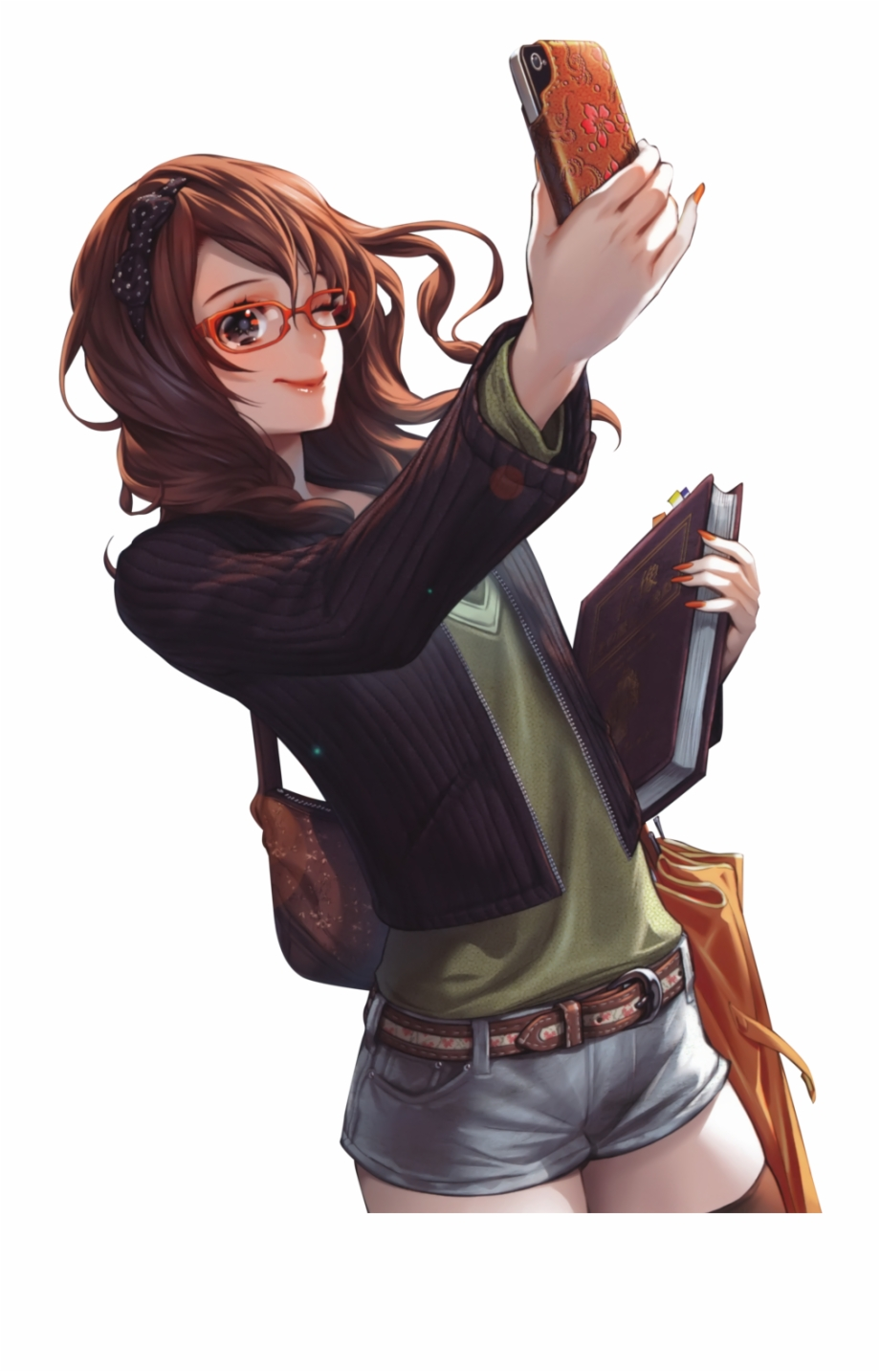 Brown Hair Anime Girl Glasses Phone Rend 921017 Png Images Pngio