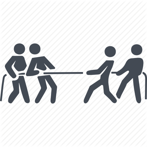 War Separating People Png - Business people conflict, separation, showdown, tug of war icon
