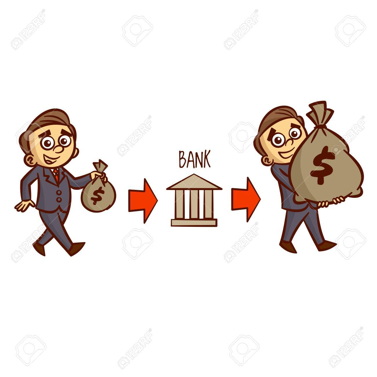Income Clipart - Businessman Carries Money In The Bank And Receives Income Clipart ...