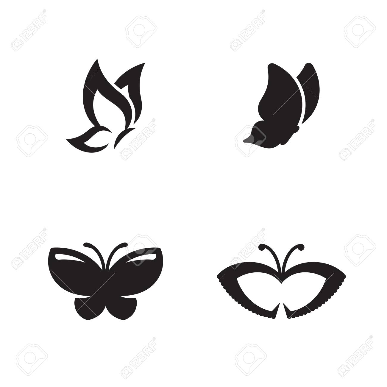 Butterfly Vector - Butterfly Vector Logo. Black Icons On A White Background Royalty ...