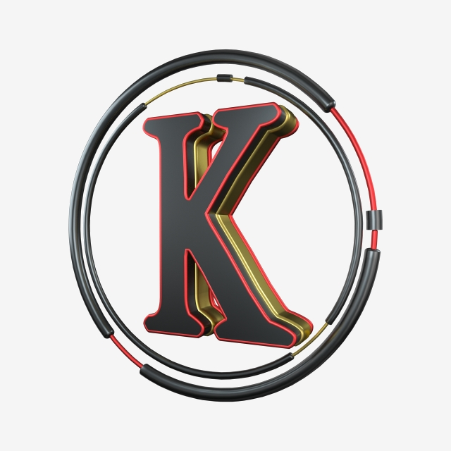 Black And Red K Png - C4d Cool Black Red Gold Three Dimensional Letter K Decoration, C4d ...